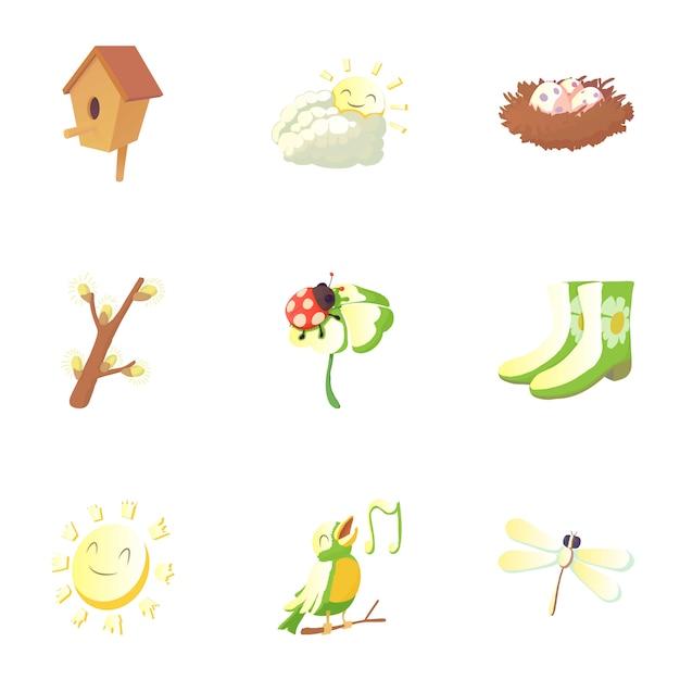 Set di elementi di primavera, stile cartoon Vettore Premium