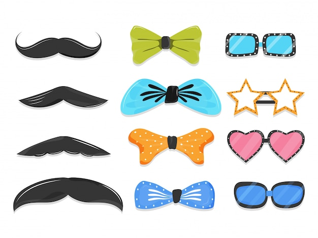 Set di elementi di scena party come baffi, papillon, occhiali in stile diverso. Vettore Premium