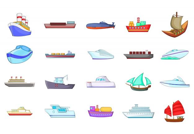 Set di elementi di spedizione. insieme del fumetto degli elementi di vettore di nave Vettore Premium