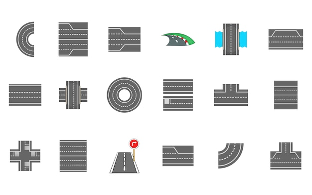 Set di elementi di strade. cartone animato set di strade vettoriali elementi Vettore Premium