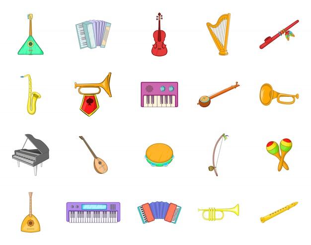 Set di elementi di strumenti musicali. insieme del fumetto degli elementi di vettore dello strumento musicale Vettore Premium