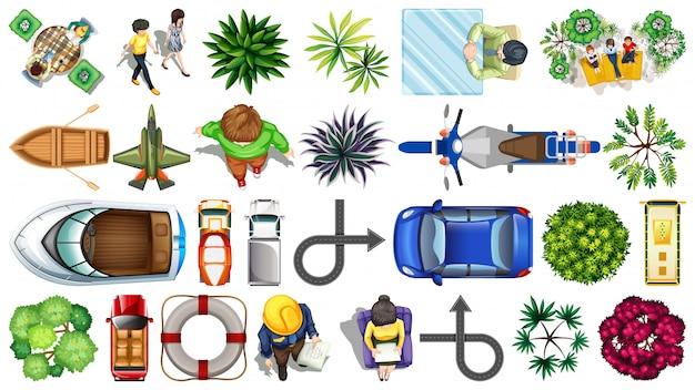 Set di elementi di visualizzazione superiore Vettore gratuito