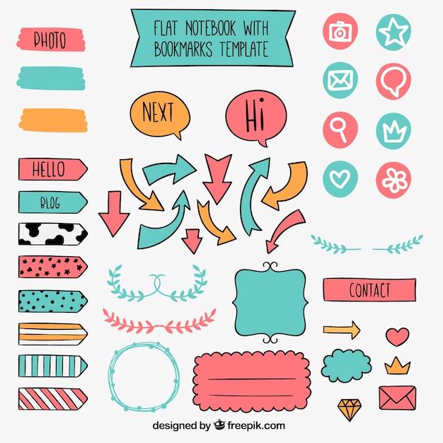 Set di elementi disegnati a mano d'epoca per notebook Vettore gratuito