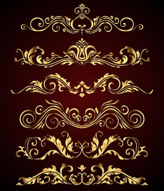 Set di elementi e bordi di turbinio floreale reale dorato Vettore Premium