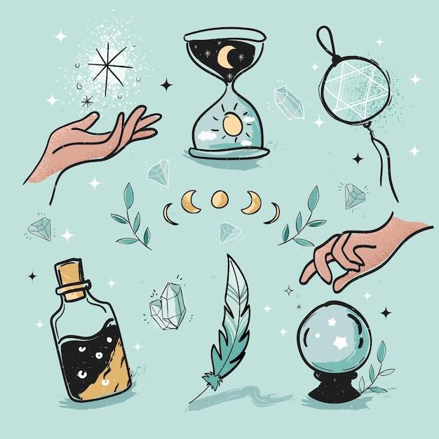 Set di elementi esoterici Vettore gratuito