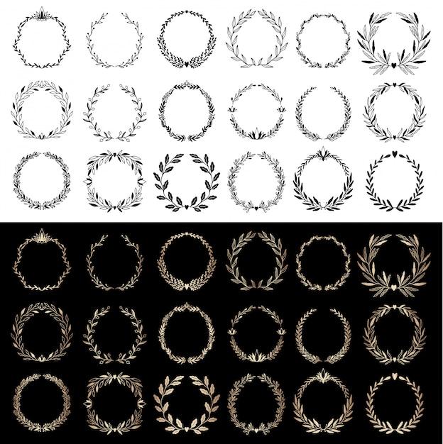 Set di elementi floreali matrimonio corona, divisori, alloro. invito decorativo. Vettore Premium