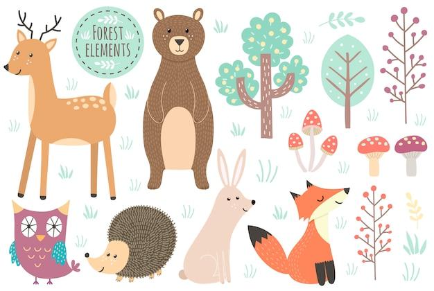 Set di elementi forestali carino - animali e alberi. Vettore Premium