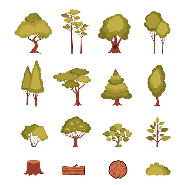 Set di elementi forestali Vettore gratuito