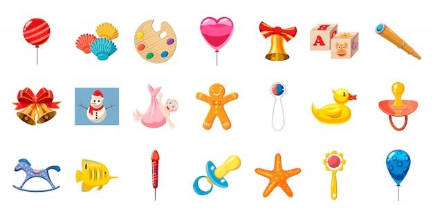 Set di elementi giocattoli bambino. cartoon set di giocattoli per bambini Vettore Premium
