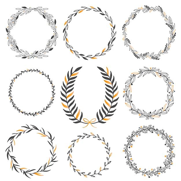 Set di elementi grafici floreali di nozze Vettore Premium