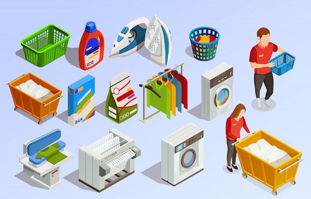 Set di elementi isometrica lavanderia Vettore gratuito