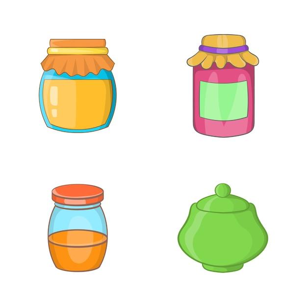 Set di elementi jar insieme del fumetto degli elementi di vettore del barattolo Vettore Premium