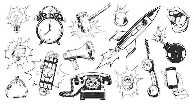 Set di elementi monocromatici comici Vettore gratuito