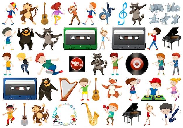Set di elementi musicali Vettore gratuito