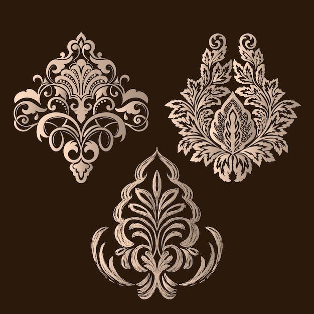 Set di elementi ornamentali damascati. eleganti elementi floreali. Vettore gratuito