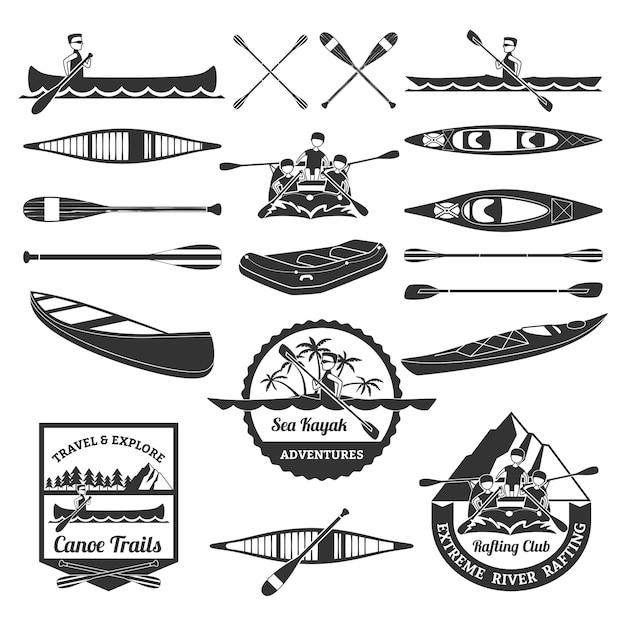 Set di elementi per il rafting in canoa e kayak Vettore Premium