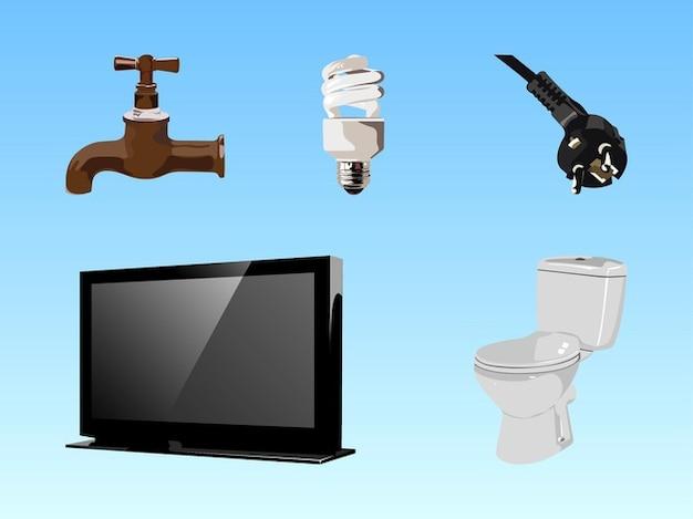 Set di elementi per la casa scaricare vettori gratis for Sito web dove puoi costruire la tua casa