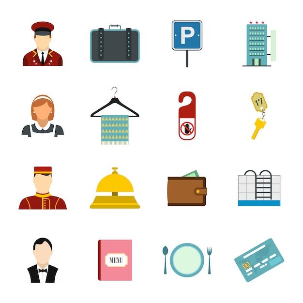 Set di elementi piatti dell'hotel per dispositivi web e mobili Vettore Premium