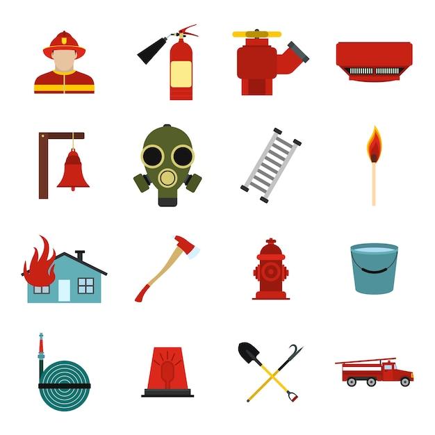 Set di elementi piatti vigile del fuoco per dispositivi mobili e web Vettore Premium