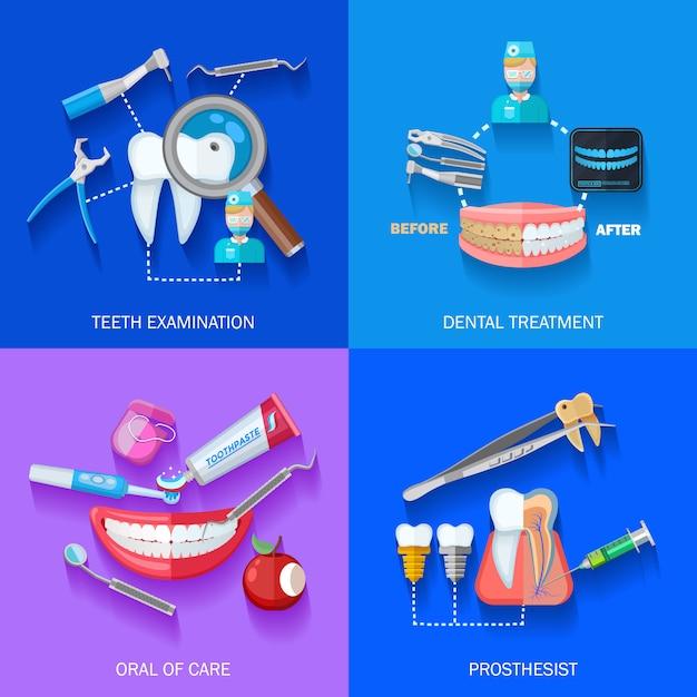 Set di elementi piatto dentista Vettore gratuito
