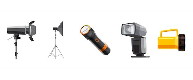 Set di elementi spotlight. cartoon set di riflettori Vettore Premium