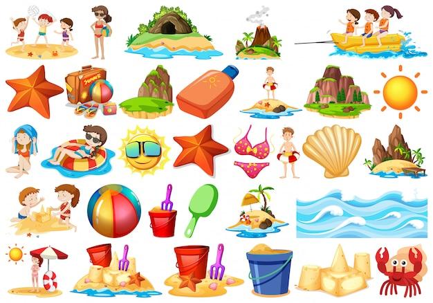 Set di elemento spiaggia Vettore gratuito