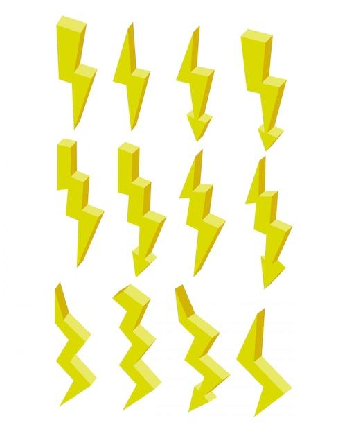 Set di elettricità isometrica piatta icona fulmine giallo. Vettore Premium
