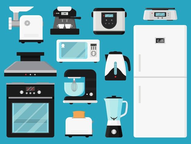 Set di elettrodomestici da cucina. Vettore Premium