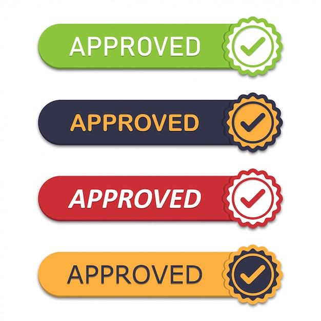 Set di emblema approvato con icona tick in un design piatto con ombra Vettore Premium