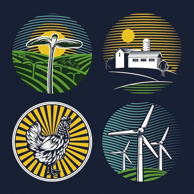 Set di emblemi agricoli su sfondo blu. Vettore Premium