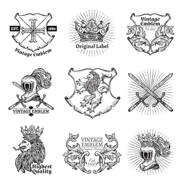 Set di emblemi araldici Vettore gratuito