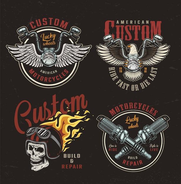 Set di emblemi colorati moto Vettore gratuito