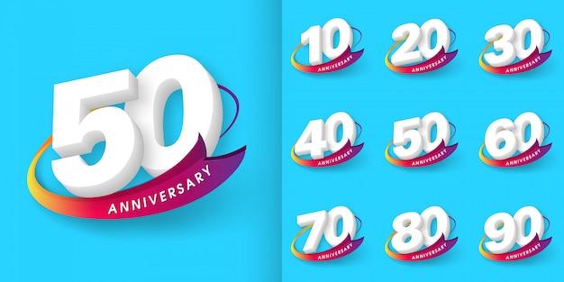 Set di emblemi di anniversario Vettore Premium