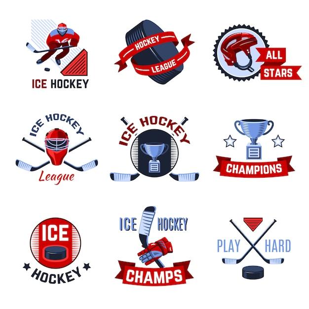 Set di emblemi di hockey Vettore gratuito