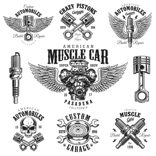 Set di emblemi di riparazione auto monocromatica vintage Vettore Premium