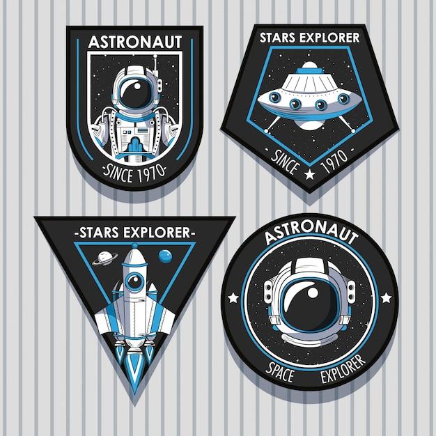Set di emblemi di space explorer patch design Vettore gratuito