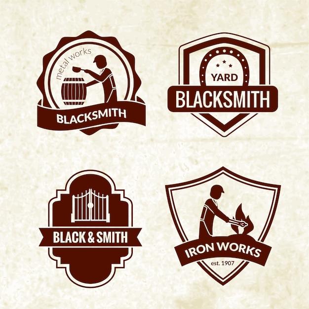 Set di emblemi fabbro Vettore gratuito