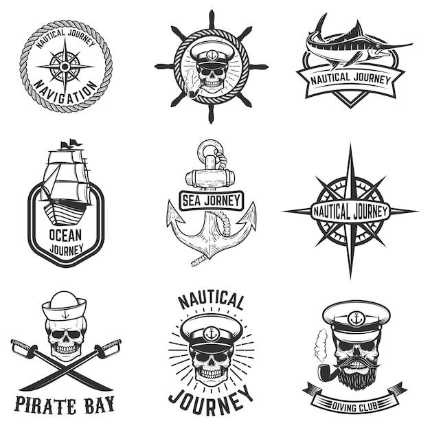 Set di emblemi nautici. elementi per logo, etichetta, emblema, segno, distintivo. illustrazione Vettore Premium