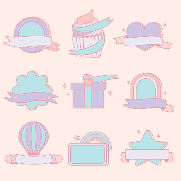 Set di emblemi pastello carino Vettore gratuito