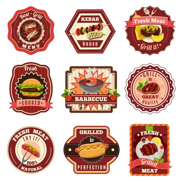 Set di emblemi per barbecue Vettore gratuito