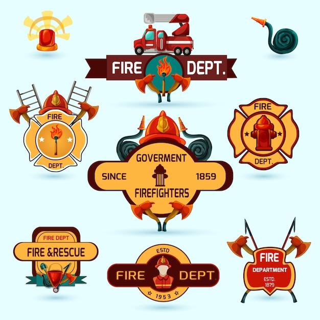 Set di emblemi pompiere Vettore gratuito