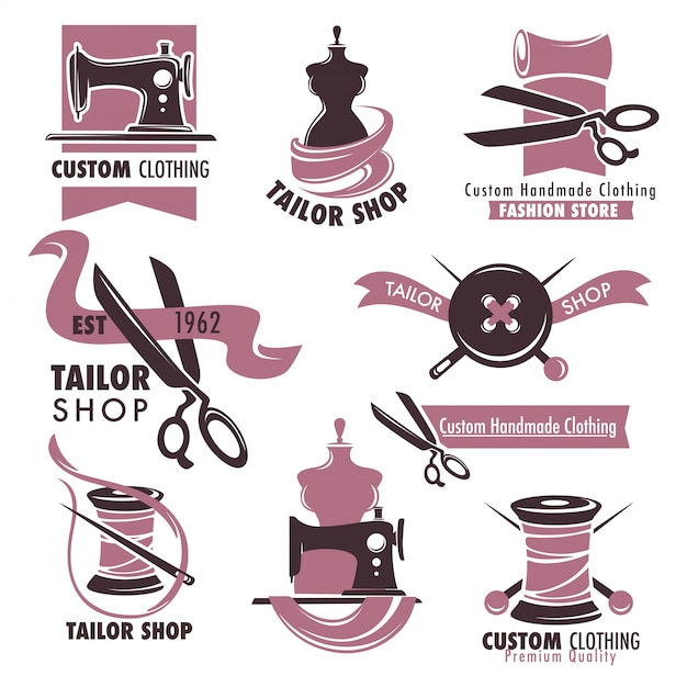 Set di emblemi promozionali di negozio di moda e negozio di moda Vettore Premium