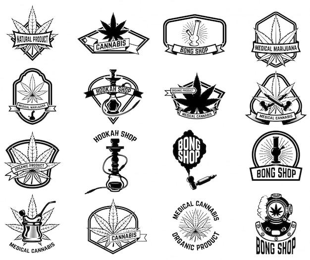 Set di emblemi vintage con marijuana medica. foglie di cannabis. elemento per logo, etichetta, emblema, segno, poster, maglietta. illustrazione Vettore Premium