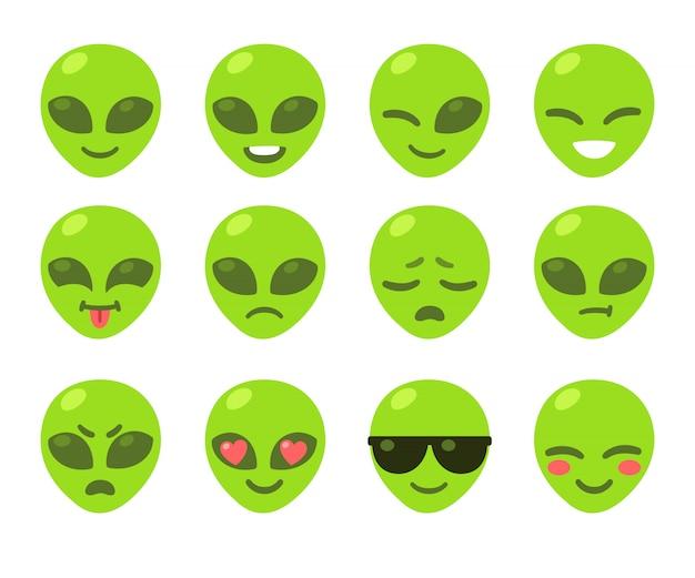 Set di emoticon alieno Vettore Premium