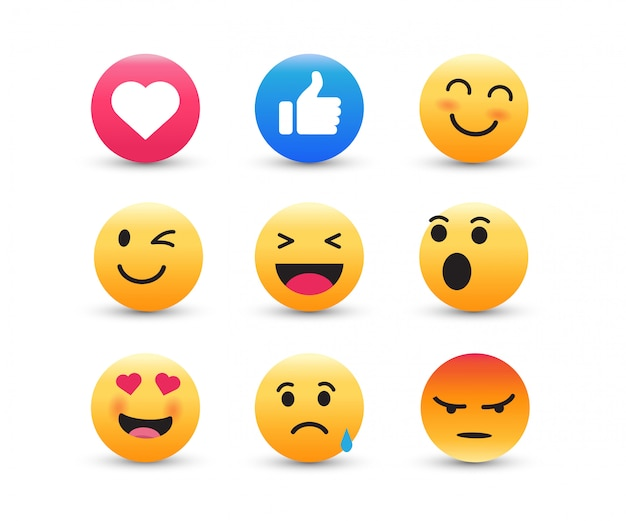 Set di emoticon gialle. Vettore Premium