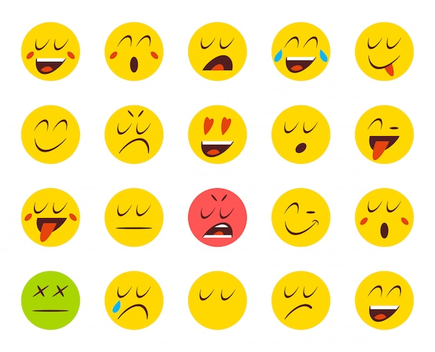 Set di emoticon o emoji. illustrazione vettoriale Vettore Premium