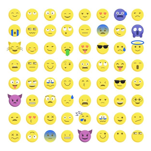 Set di emoticon smiley carini Vettore Premium