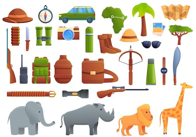 Set di equipaggiamento safari, stile cartoon Vettore Premium