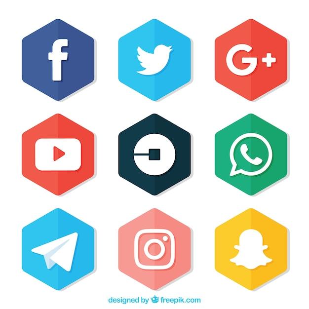 Set di esagoni colorati con loghi delle reti sociali Vettore gratuito