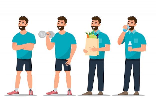 Set di esercizio uomo in palestra su uno sfondo bianco Vettore Premium